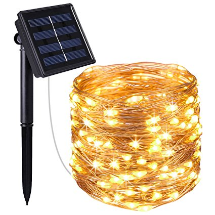 100LEDs Solar Powered Copper Wire String Lights