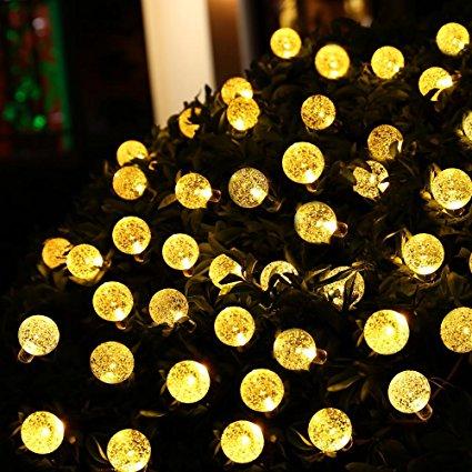 Outdoor Solar Crystal Globe String Lights